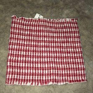 John Galt red and white tube top
